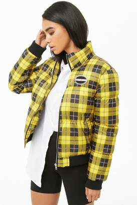 Forever 21 Plaid Print Puffer Jacket