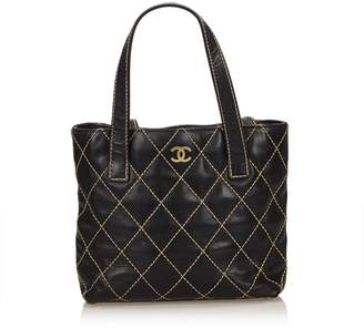 Chanel Vintage Surpique Leather Tote