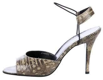 Giorgio Armani Lizard Ankle Strap Sandals