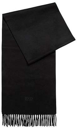 HUGO BOSS Tailored Italian-made scarf in cashmere with fringed hem