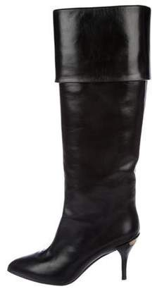Louis Vuitton Leather Pointed-Toe Knee-High Boots