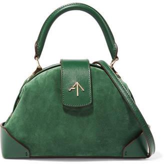 Atelier MANU Demi Mini Leather-trimmed Suede Shoulder Bag - Emerald