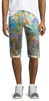 PRPS Paint-Splattered Slim-Fit Shorts, White/Multi $225 thestylecure.com