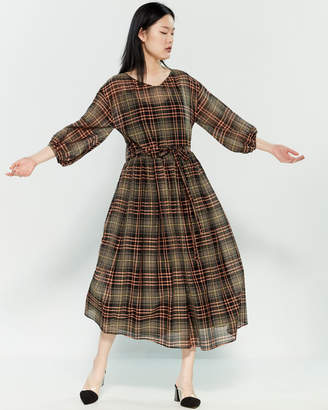 Alysi Plaid Flared Midi Dress