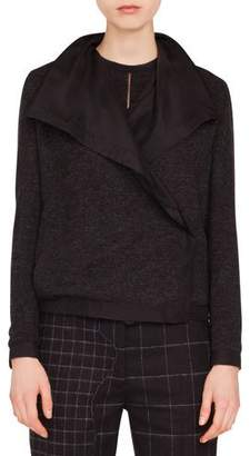 Akris Rochelle Draped-Lapel Cashmere-Silk Reversible Jacket