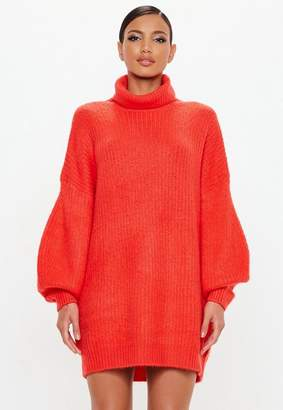 Missguided Red Turtle Neck Oversized Dress