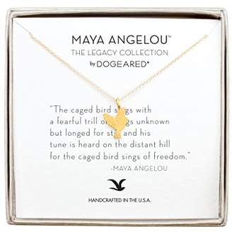Dogeared Women's 14ct Gold Plated Sterling Silver Maya Angelou Collection Love Life. Engage In It. Cut Out Heart Necklace of Length 45.72cm