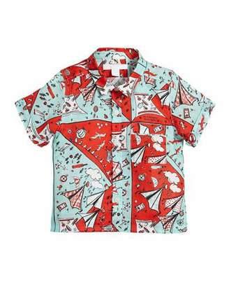 Burberry Sammi Picnic-Print Short-Sleeve Shirt, Size 12M-3