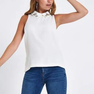 River Island Petite cream embellished collar top