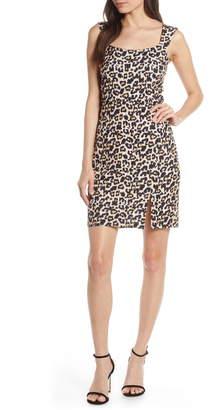 Sequin Hearts Animal Print Scuba Sheath Dress
