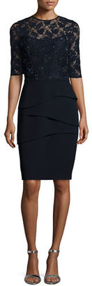 Rickie Freeman for Teri Jon Lace & Crepe Sheath Dress $560 thestylecure.com