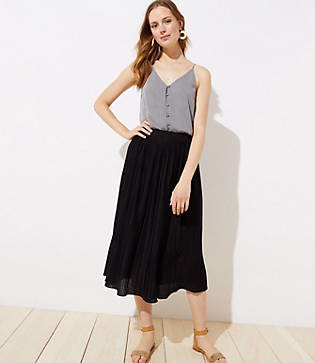 LOFT Petite Pleated Knit Midi Skirt