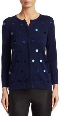 Saks Fifth Avenue COLLECTION Sequin Roundneck Cardigan