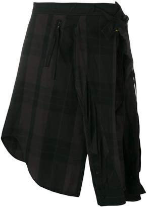 Julius asymmetric side-slit shorts
