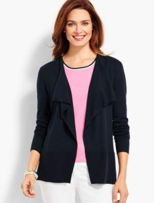 Talbots Open-Front Heart-Back Cardigan