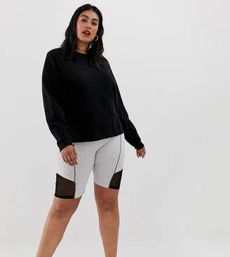 Asos DESIGN Curve contrast panel legging short with deep waistband