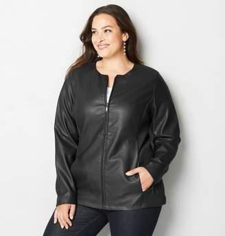 Avenue Clean Zip Faux Leather Jacket