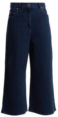 Valentino High Rise Wide Leg Cotton Culottes - Womens - Denim
