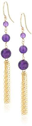 Faceted Amethyst Graduated Size with Gold Filled Chain and Ear Hook Drop Dangle Earrings