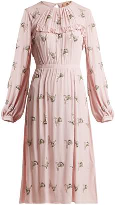 No.21 NO. 21 Floral-embellished crepe dress