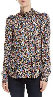 Veronica Beard Mena Gathered Floral Puff-Sleeve Top