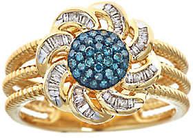 Affinity Diamond Jewelry Blue & White Diamond Flower Ring, 3/10cttw, 14K , by Affinity