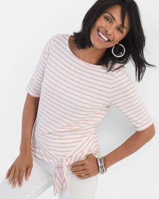 Chico's Chicos Striped Tie-Front Tee