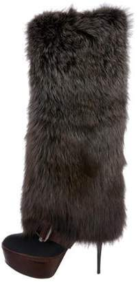 Marni Fur-Trimmed Knee-High Boots w/ Tags Black Fur-Trimmed Knee-High Boots w/ Tags