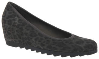 Gabor Request Wide Fit Wedge Heeled Pumps, Grey Leopard Suede