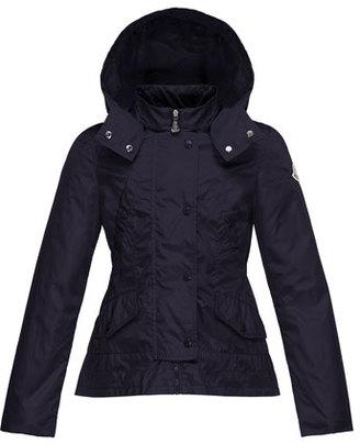 Moncler Ayrolette Hooded Raincoat, Dark Blue, Size 2-3 $295 thestylecure.com