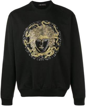 Versace Crystal Embroidered Medusa sweater