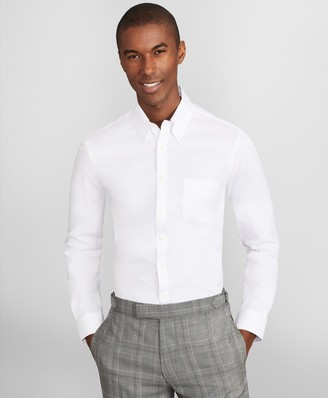 Brooks Brothers Soho Extra-Slim Fit Dress Shirt, Performance Non-Iron with COOLMAX, Button-Down Collar Twill