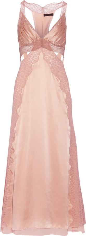 Alexander WangAlexander Wang Cutout lace-paneled silk-satin gown