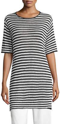 Eileen Fisher Striped Organic Linen Tunic