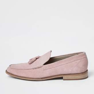 River Island Mens Light pink suede tassel loafers