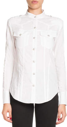 Balmain Long-Sleeve Button-Front Cotton Shirt
