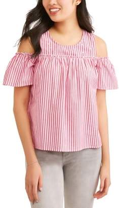 No Comment Juniors' Cold Shoulder Pearl Embellished Poplin Blouse