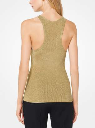 Michael Kors Metallic Stretch-Viscose Ribbed Tank