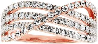 Swarovski Diamond Splendor 18k Rose Gold Plated Crystal Crisscross Ring