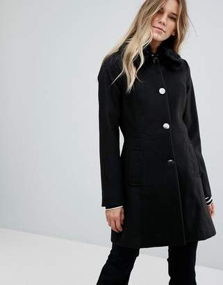 Oasis Faux Fur Collar Swing Coat