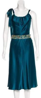 Lela Rose Silk Belted Dress