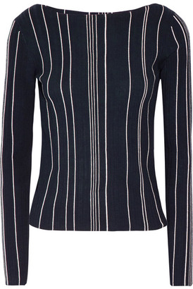 Theory - Striped Ribbed Stretch-knit Top - Midnight blue $355 thestylecure.com