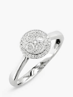 EWA 18ct White Gold Diamond Cluster Engagement Ring, White Gold