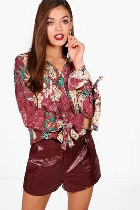 boohoo Floral Printed Wrap Over Blouse