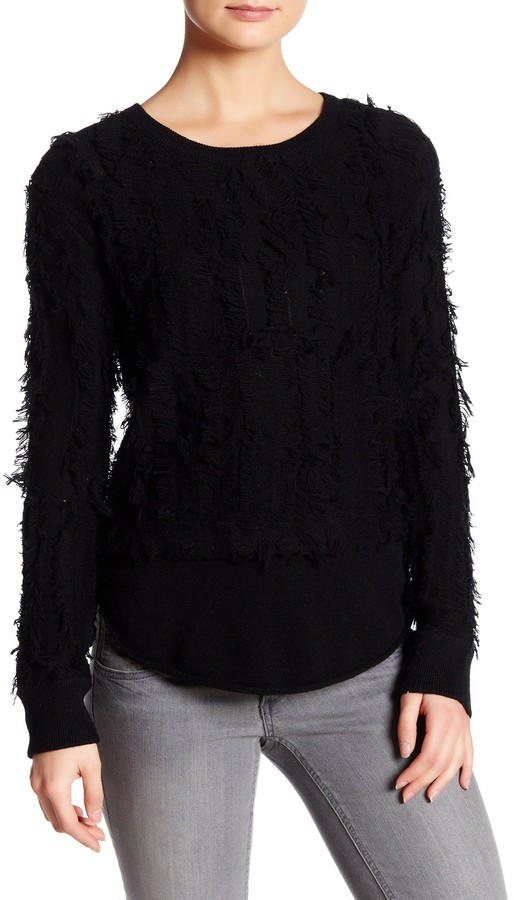 Inhabit Crew Neck Long Sleeve Wool Blend Frayed Sweater 3