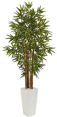 Bloomsbury Market Artificial Floor Bamboo Tree in Cylinder Ceramic Planter