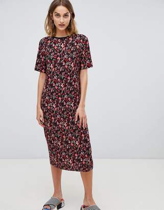 Stradivarius ditsy print dress midi plisse