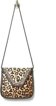 Ricki Designs Leather Leopard Embroidered Crossbody Bag