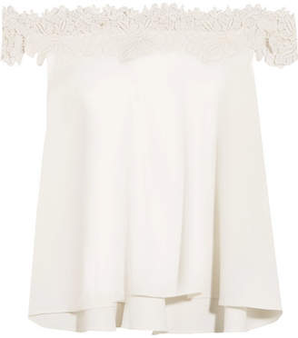 Rime Arodaky - Carla Off-the-shoulder Lace-trimmed Crepe Top - White