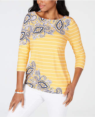 Charter Club Mixed-Print Top